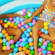 Childhood Friends Enjoying Ball Pool — Stock Video #18895453