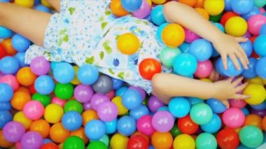 Close Up Caucasian Child Playing Ball Pool — Stock Video