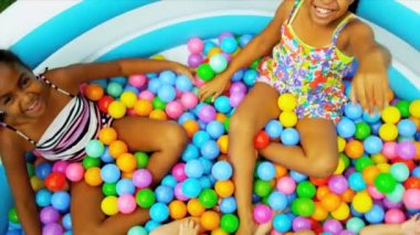 Childhood Friends Enjoying Ball Pool — Stock Video
