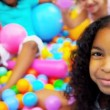 Happy Multi Ethnic Girls Ball Pool — Stockvideo