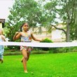 Multi Ethnic Children Enjoying Fun Races — Stockvideo