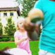 Stock Video: Home Garden Healthy Fun Sports Day