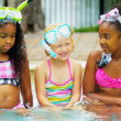 Cute Multi Ethnic Friends Outdoor Pool — Stock Video #18923189
