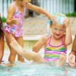 Cute Little Friends Healthy Swimming Lifestyle - Stock Photo