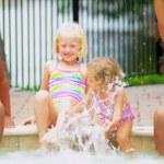 Multi Ethnic Girls Swimming Pool — Stock Video