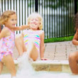 Young Children Enjoying Water Outdoors — Stock Video