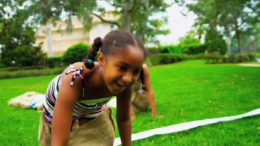 Little Girls Healthy Exercise Sport — Stock Video