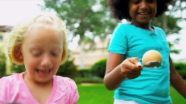 Multi Ethnic Children Fun Races — Stock Video