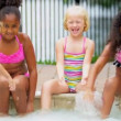 Young Children Enjoying Water Outdoors — Stock Video #18930081