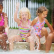 Cute Multi Ethnic Friends Outdoor Pool — Stock Video