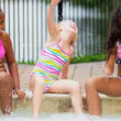 Pretty Multi Ethnic Children Playing Swimming Pool — Stock Video #18930215