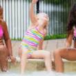 Pretty Multi Ethnic Children Playing Swimming Pool — Stock Video #18930215
