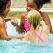 Happy Multi Ethnic Childhood Friends Swimming Pool — Stock Video