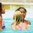 Slow Motion Multi Ethnic Friends Outdoor Pool — Stock Video