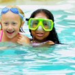 Pretty Multi Ethnic Children Playing Swimming Pool - 图库照片