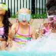 Happy Multi Ethnic Childhood Friends Swimming Pool — Stock Video #18933519