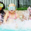 Pretty Multi Ethnic Children Playing Swimming Pool — Stock Video #18933567