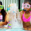 Laughing Multi Ethnic Girls Swimming Pool Slow Motion — Stock Video #18934431