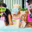 Slow Motion Multi Ethnic Girls Swimming Pool — Stock Video