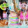 Cute Multi Ethnic Friends Outdoor Pool — Stock Video #18934975