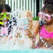 Happy Multi Ethnic Childhood Friends Swimming Pool — Stock Video #18935015