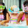 Pretty Multi Ethnic Children Playing Swimming Pool - Foto de Stock