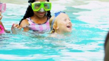Slow Motion Multi Ethnic Girls Swimming Pool — Stock Video