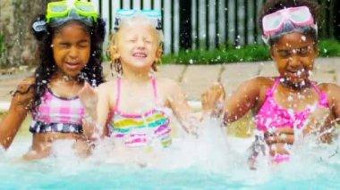 Laughing Little Girls Enjoying Swimming Pool Slow Motion — Stock Video