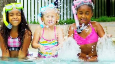 Pretty Multi Ethnic Children Playing Swimming Pool — Stock Video