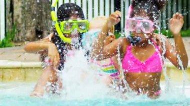 Laughing Little Girls Enjoying Swimming Pool — Stock Video