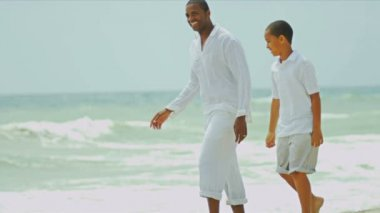 Ethnic father son spending holiday on beach — Stock Video