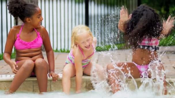 Pretty Multi Ethnic Children Playing Swimming Pool — Vidéo