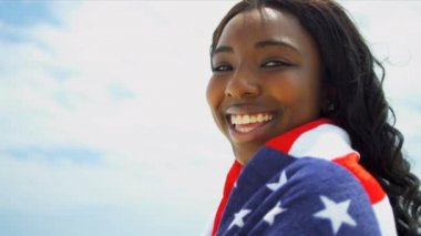 Full Frame Smiling Stars Stripes Beach Girl — Stock Video
