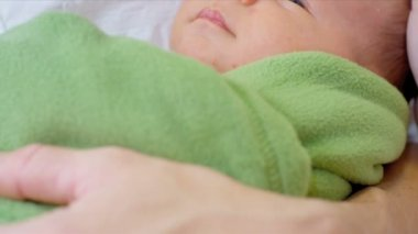 Close Up Newborn Baby Wrapped Blanket — Stock Video