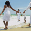 Ethnic brothers and sister spending time with parents enjoying the beach — Stock Video