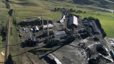 Aerial view of small coal mining pit — Stock Video