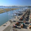 Aerial view of the Port of Oakland a commercial Container Port — Stock Video