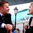 Business couple at their European conference — Stok video #19186757