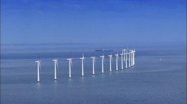 Aerial view of ocean wind turbines — Stock Video
