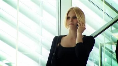 Attractive blonde businesswoman working with technology — Stock Video #19186865