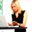 Beautiful blonde businesswoman works from home — Stock Video