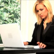 Beautiful blonde businesswoman works from home - ストック写真