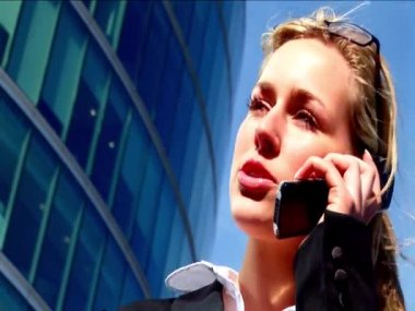 Attractive blonde businesswoman working with technology — Stock Video #19208869