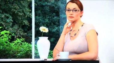 A portrait of an attractive brunette businesswoman — Stock Video