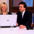 Businesswoman and businessman working on the PC — Stock Video