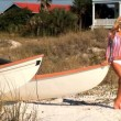 Beautiful blonde girl enjoying the beach lifestyle — Stock Video #19217179