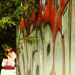Pan across to fashion model on graffiti wall with sunglasses — Stock Video #19219051