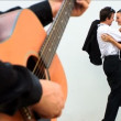 Romantic European couple in love with guitar player — Stock Video