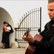Romantic European couple in love with guitar player — Stock Video #19219329