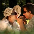 Young couple in love spending time together in the park — Stock Video